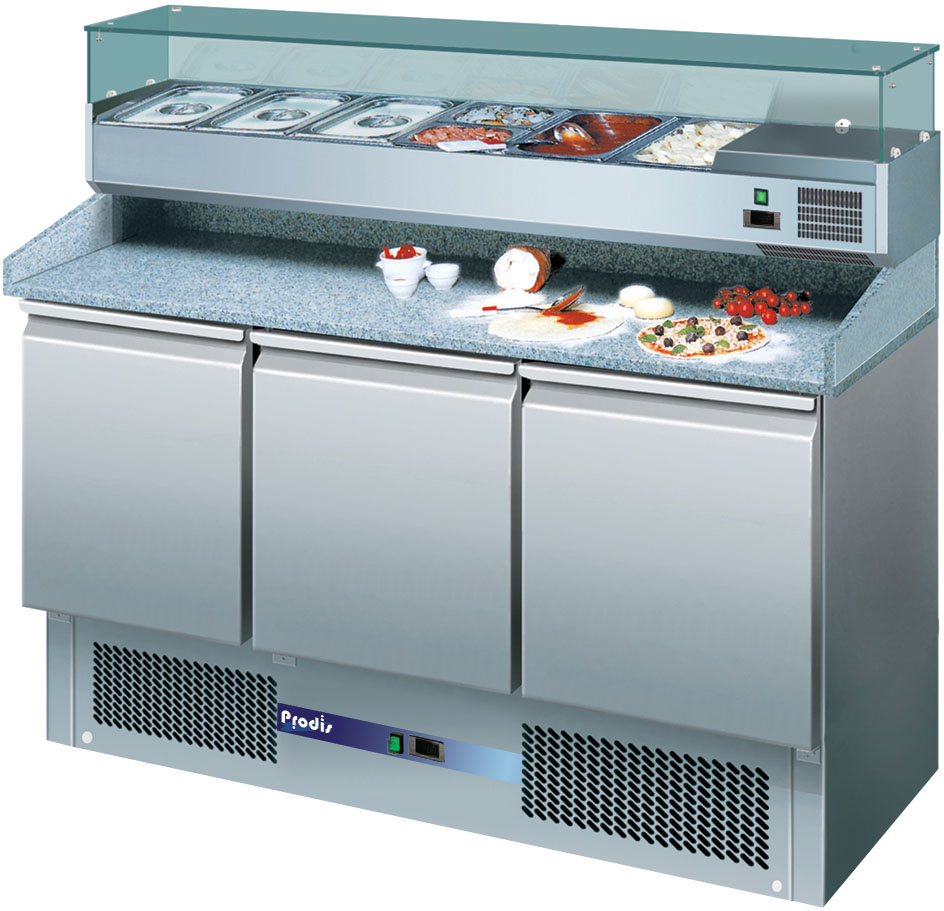 Prodis EC-3PIZZA 3 Door Granite Top Pizza Prep Table With 6 x 1/4GN Topping Unit