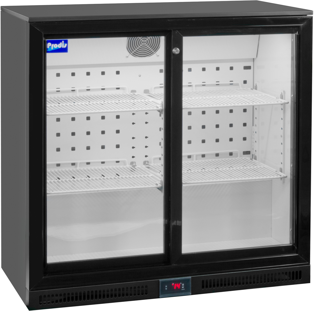 Prodis NT2BS-HC Double Sliding Door Black Bottle Cooler